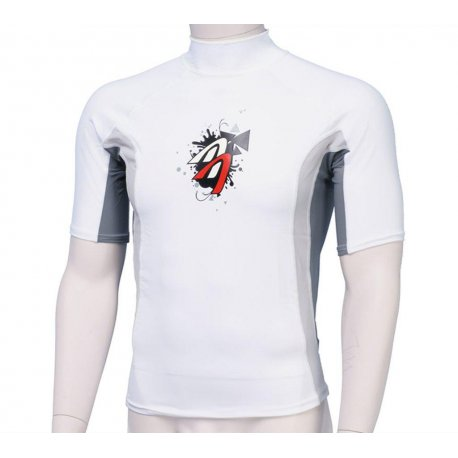 Блузи с UV защита - Блуза ликра с пълна ултравиолетова защита Ascan къс ръкав бяла