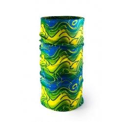Мултифункционална кърпа за глава в синьо, жълто и зелено - 1